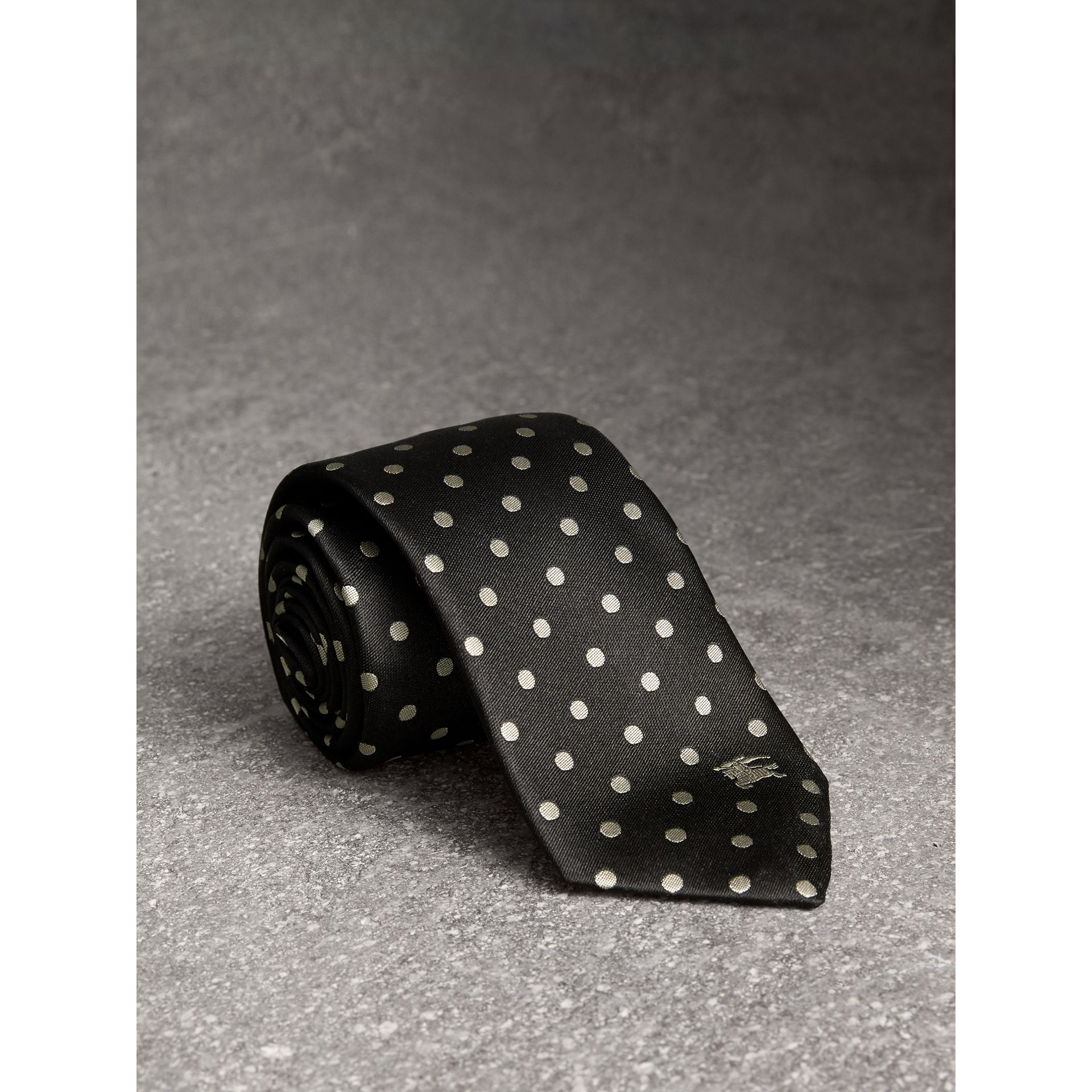 Modern Cut Polka-dot Silk Tie in Black - Men | Burberry United Kingdom - gallery image 1