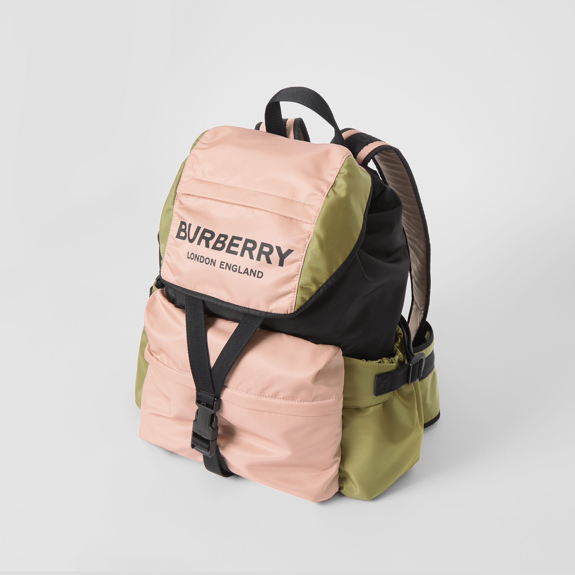 Logo Print Tri-Tone Nylon Backpack in Rose Beige - Women | Burberry - gallery image 3