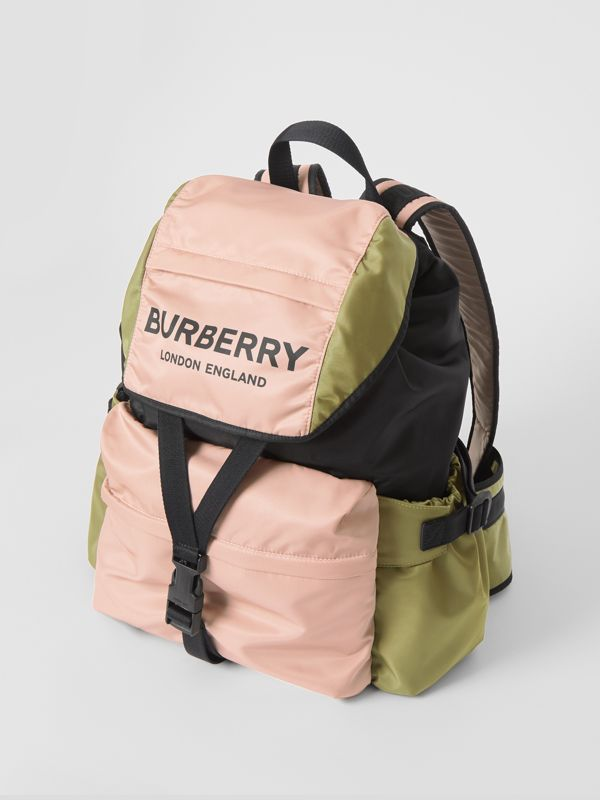 Logo Print Tri-Tone Nylon Backpack in Rose Beige - Women | Burberry - cell image 3