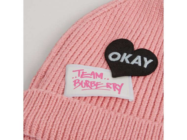 Patch Detail Merino Wool Beanie in Dusty Pink | Burberry - cell image 1