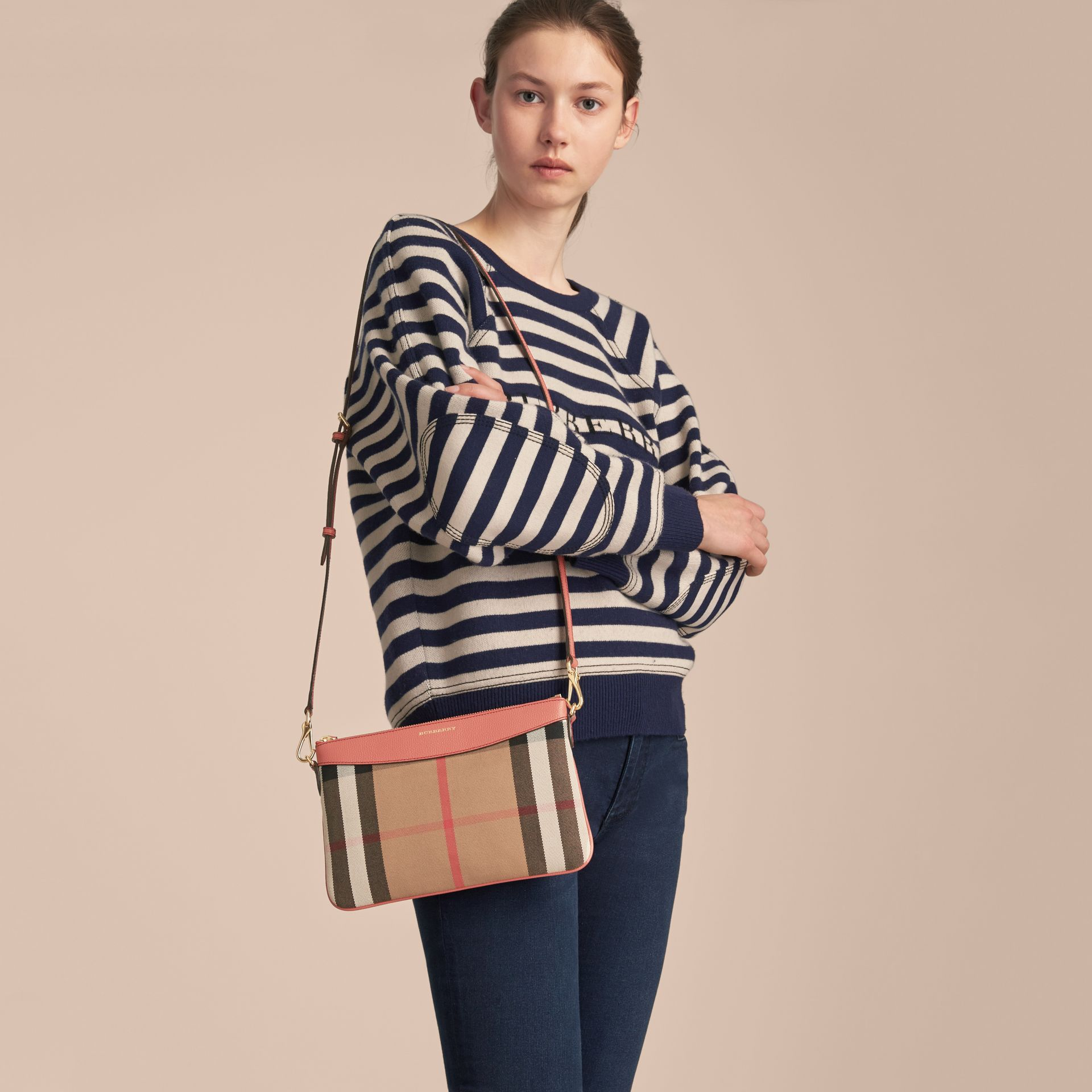 House Check and Leather Clutch Bag in Cinnamon Red - Women | Burberry United Kingdom - gallery image 2