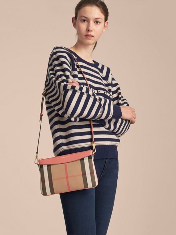 House Check and Leather Clutch Bag in Cinnamon Red - Women | Burberry - cell image 2