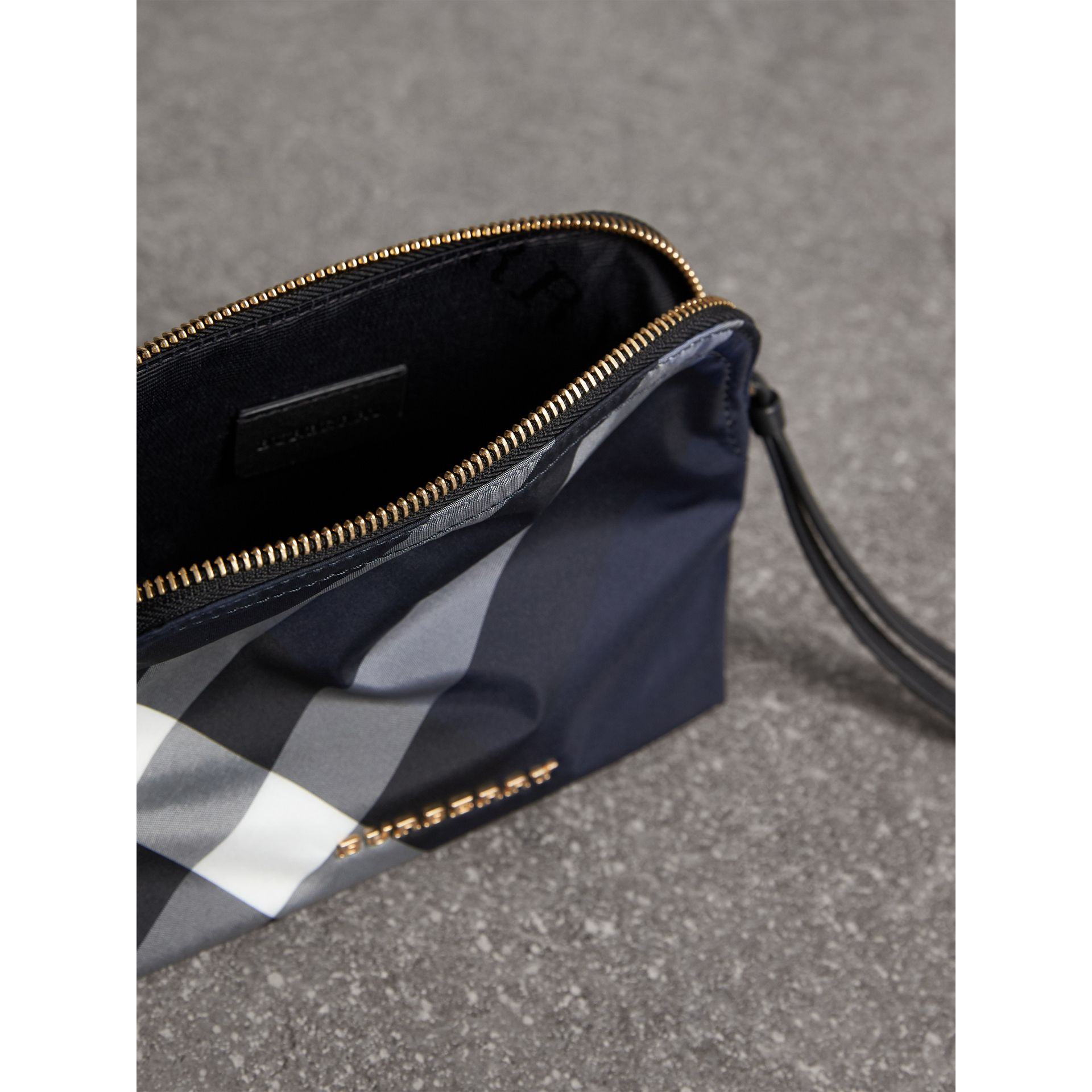 Medium Zip-top Check Technical Pouch in Indigo Blue - Women | Burberry United Kingdom - gallery image 4