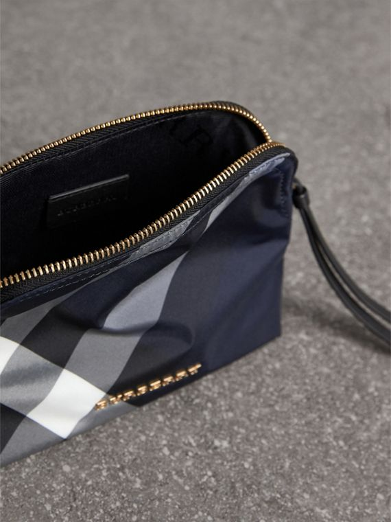 Medium Zip-top Check Technical Pouch in Indigo Blue - Women | Burberry United Kingdom - cell image 3
