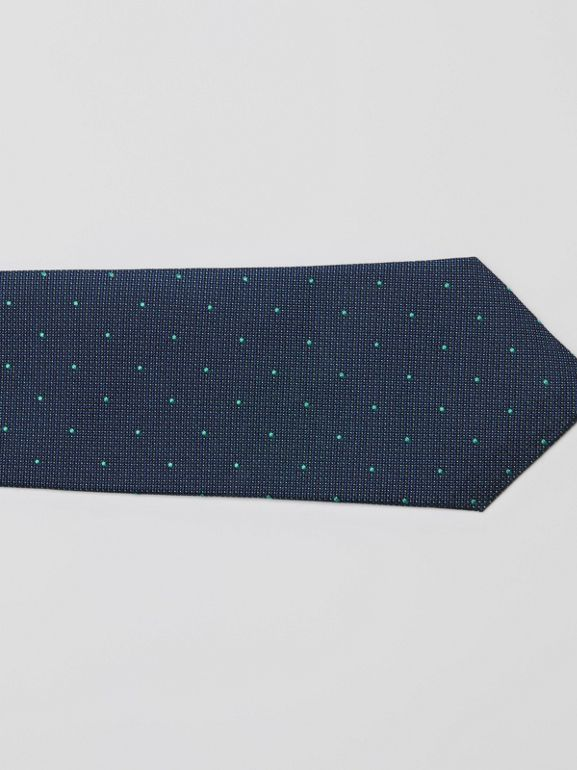 Modern Cut Polka Dot Silk Tie in Mineral Blue - Men | Burberry United States - cell image 1