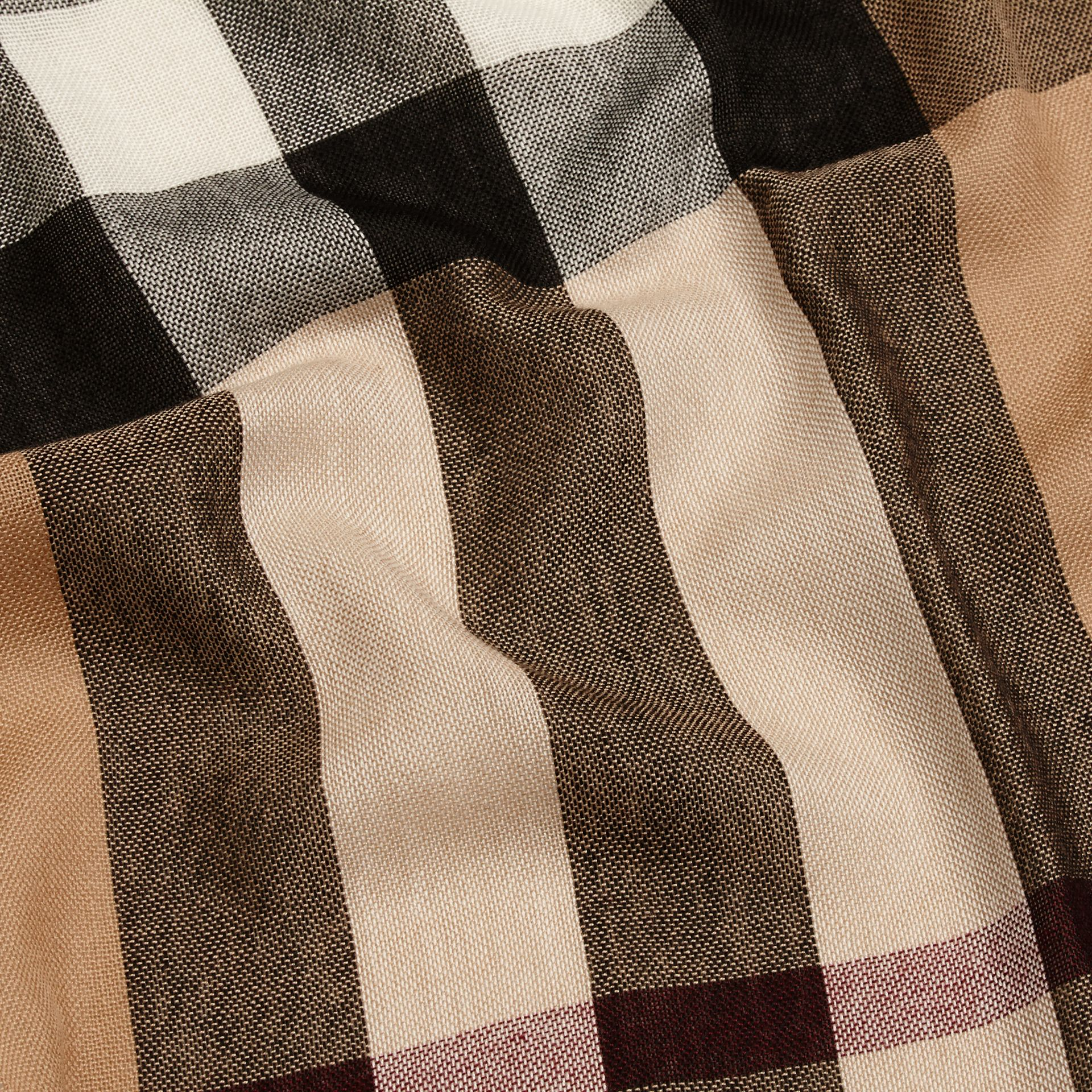 Lightweight Check Wool Cashmere Scarf in Camel - gallery image 3