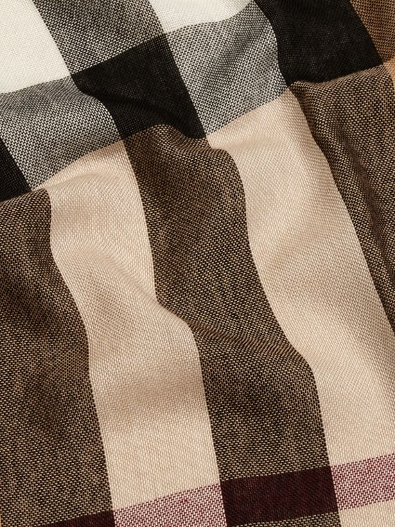 Lightweight Check Wool Cashmere Scarf in Camel - cell image 2