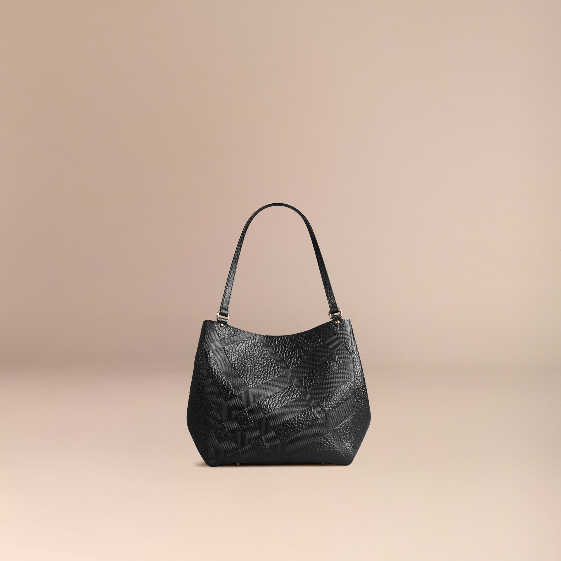 Black The Small Canter in Embossed Check Leather Black - gallery image 3