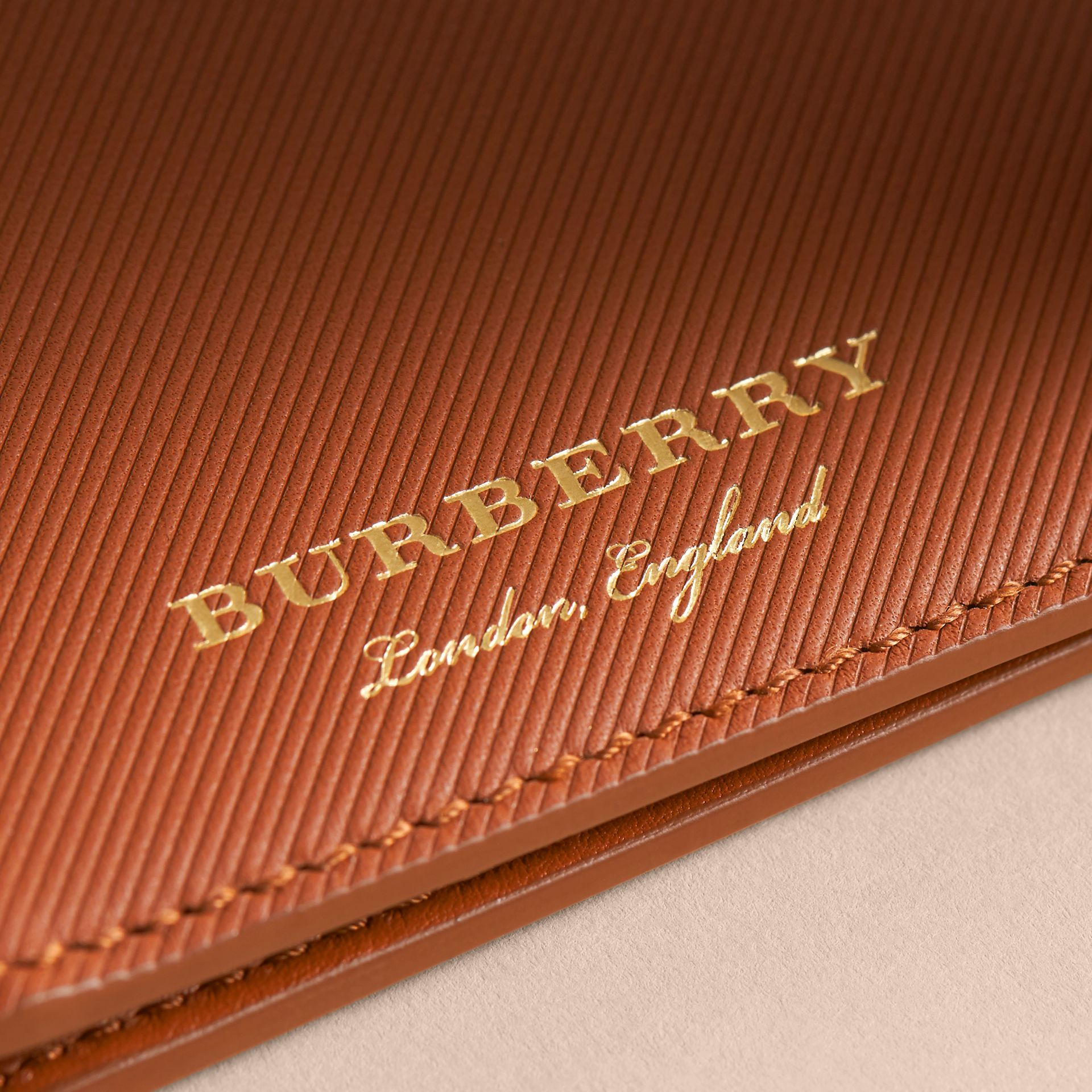 Trench Leather International Bifold Wallet in Tan - Men | Burberry Australia - gallery image 2