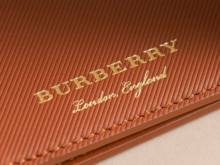 Trench Leather International Bifold Wallet in Tan - Men | Burberry Australia - cell image 1