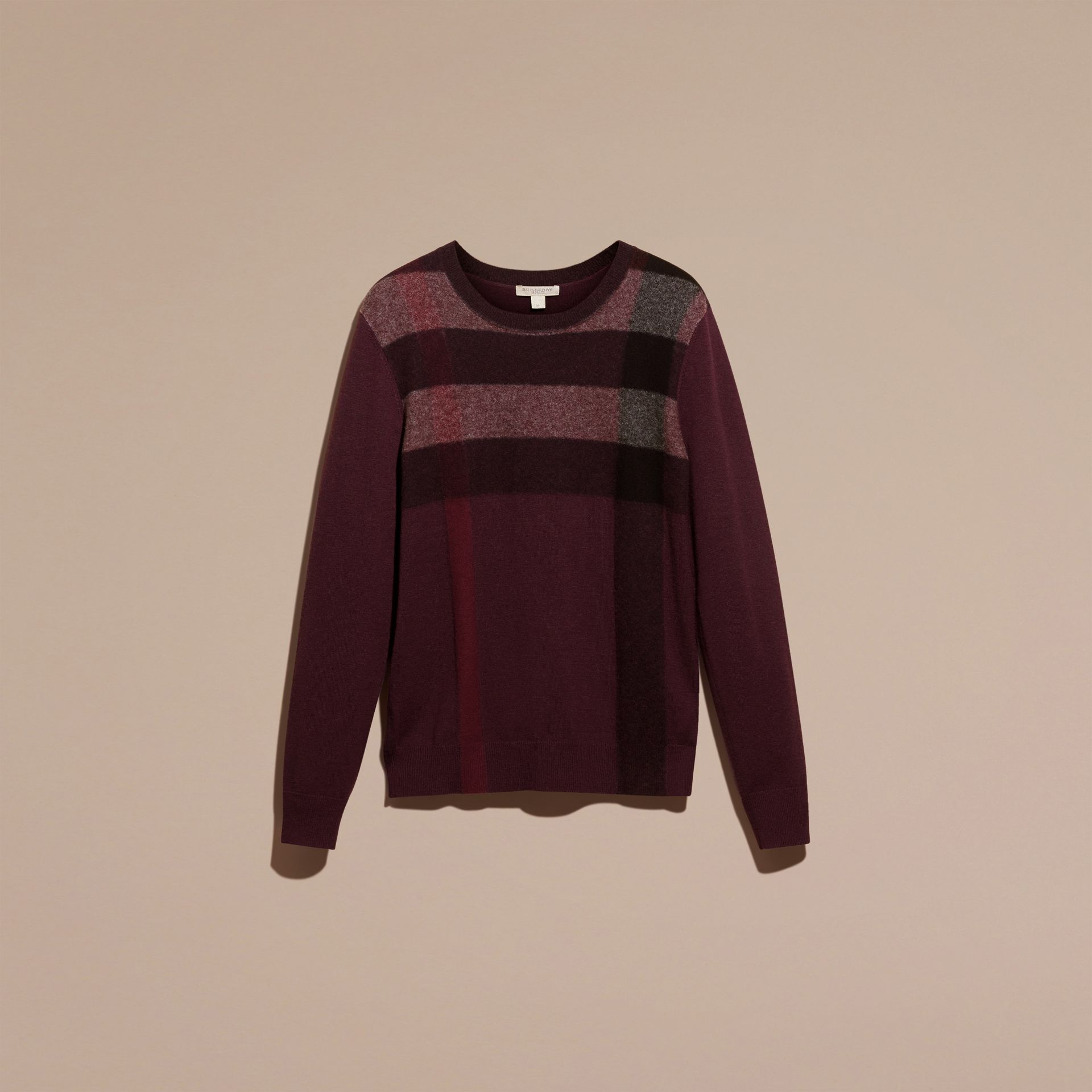 Graphic Check Cashmere Cotton Sweater in Burgundy Red - gallery image 4