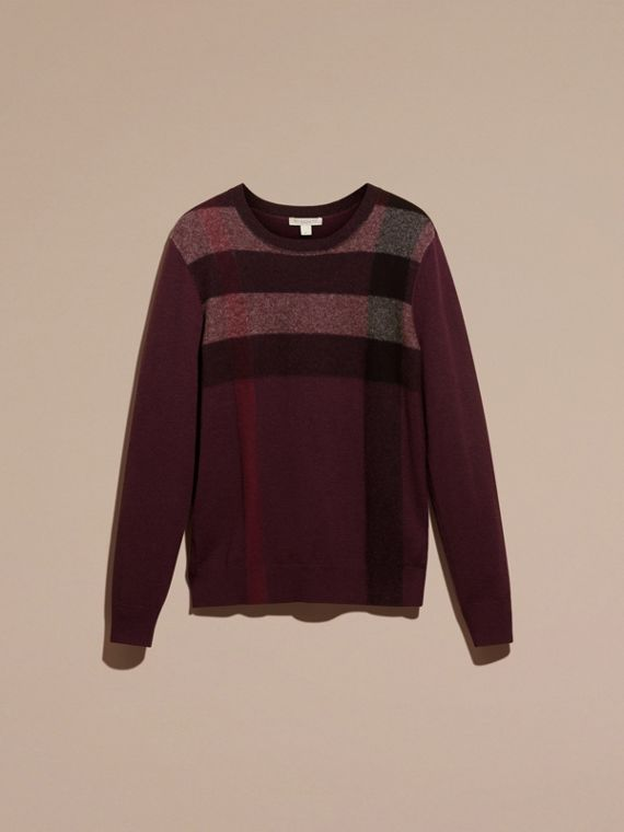 Graphic Check Cashmere Cotton Sweater in Burgundy Red - cell image 3