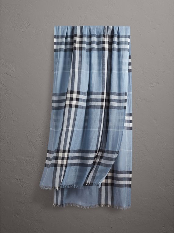 Lightweight Check Wool and Silk Scarf in Dusty Blue