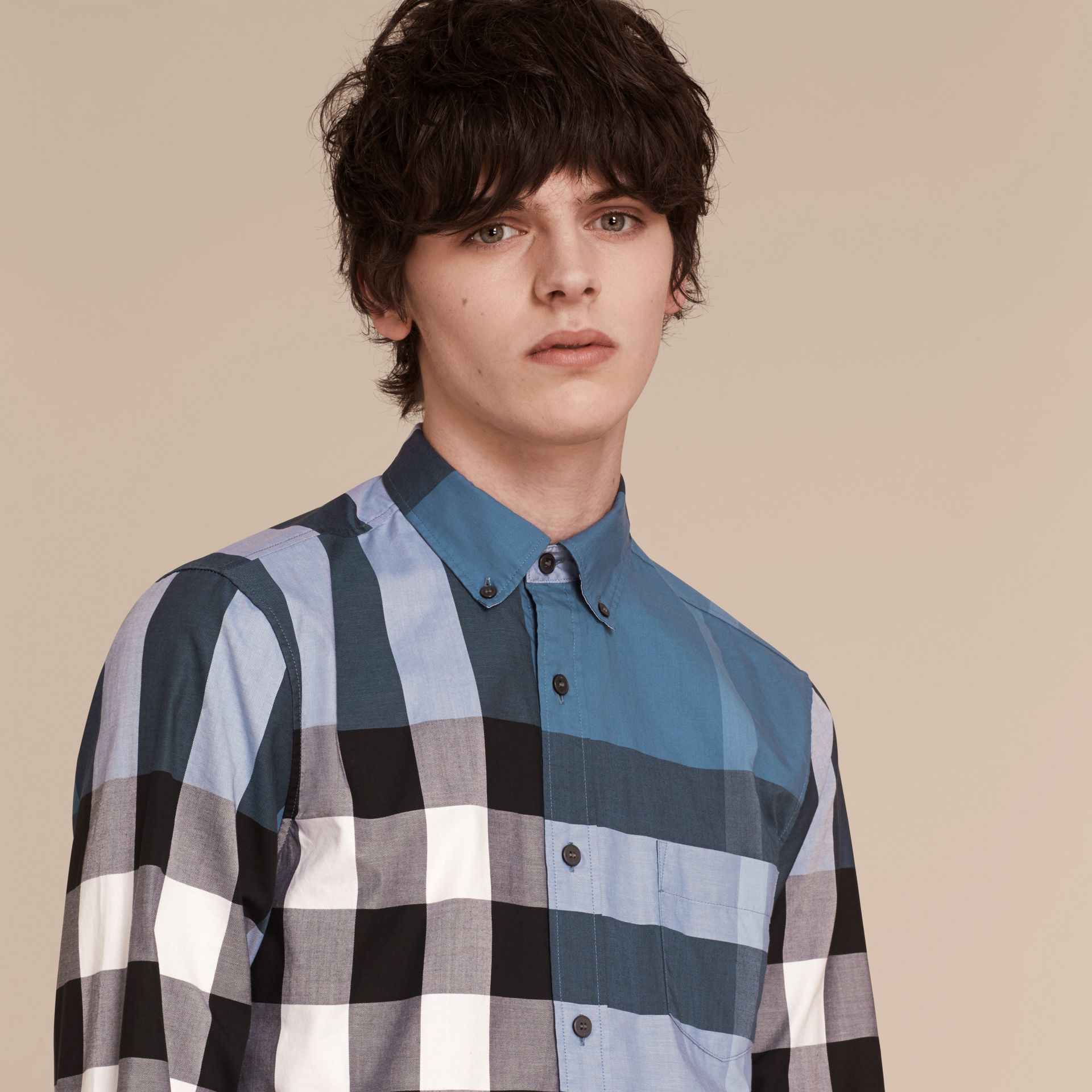 Lupin blue Check Cotton Shirt Lupin Blue - gallery image 5