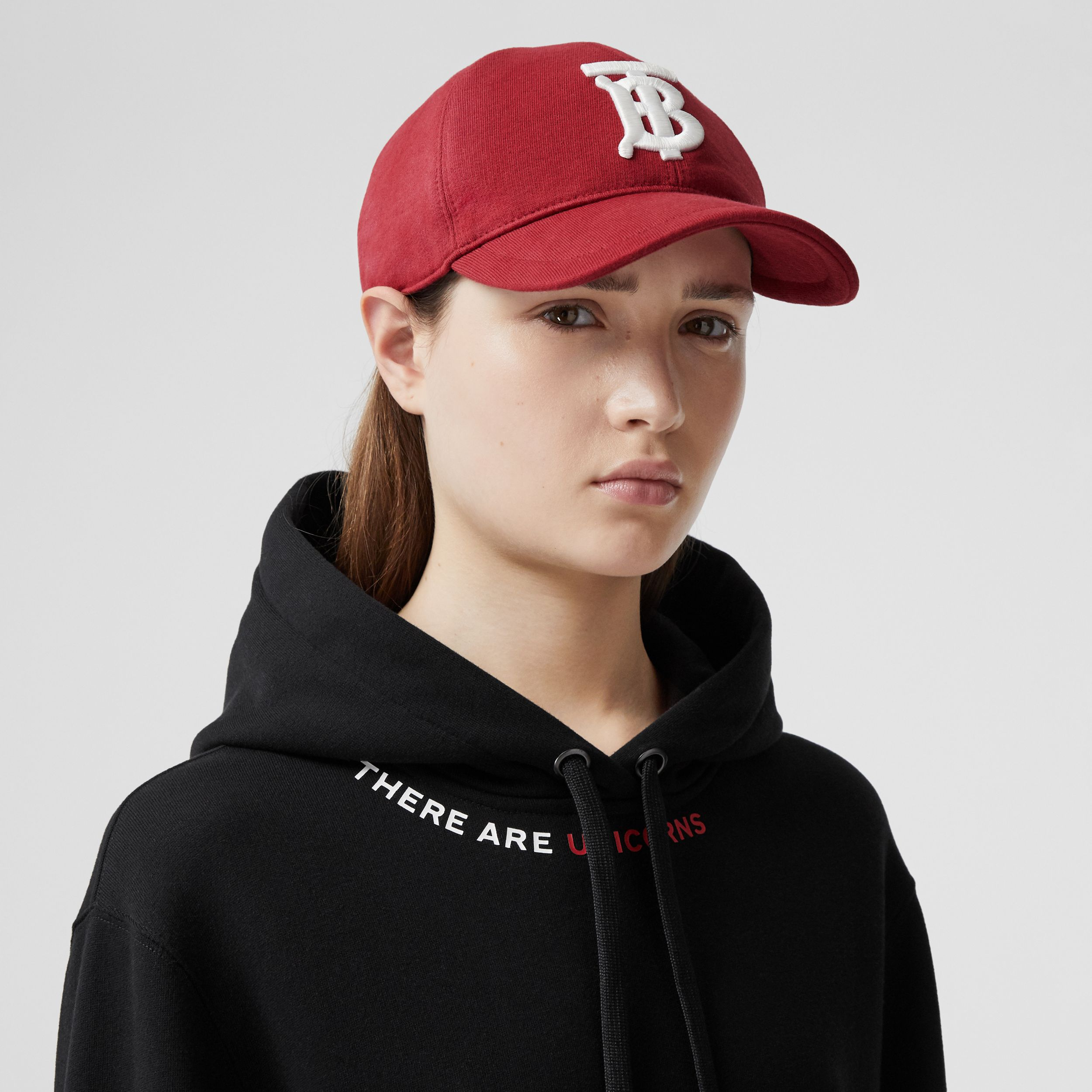 Monogram Motif Jersey Baseball Cap in Dark Carmine | Burberry - 3