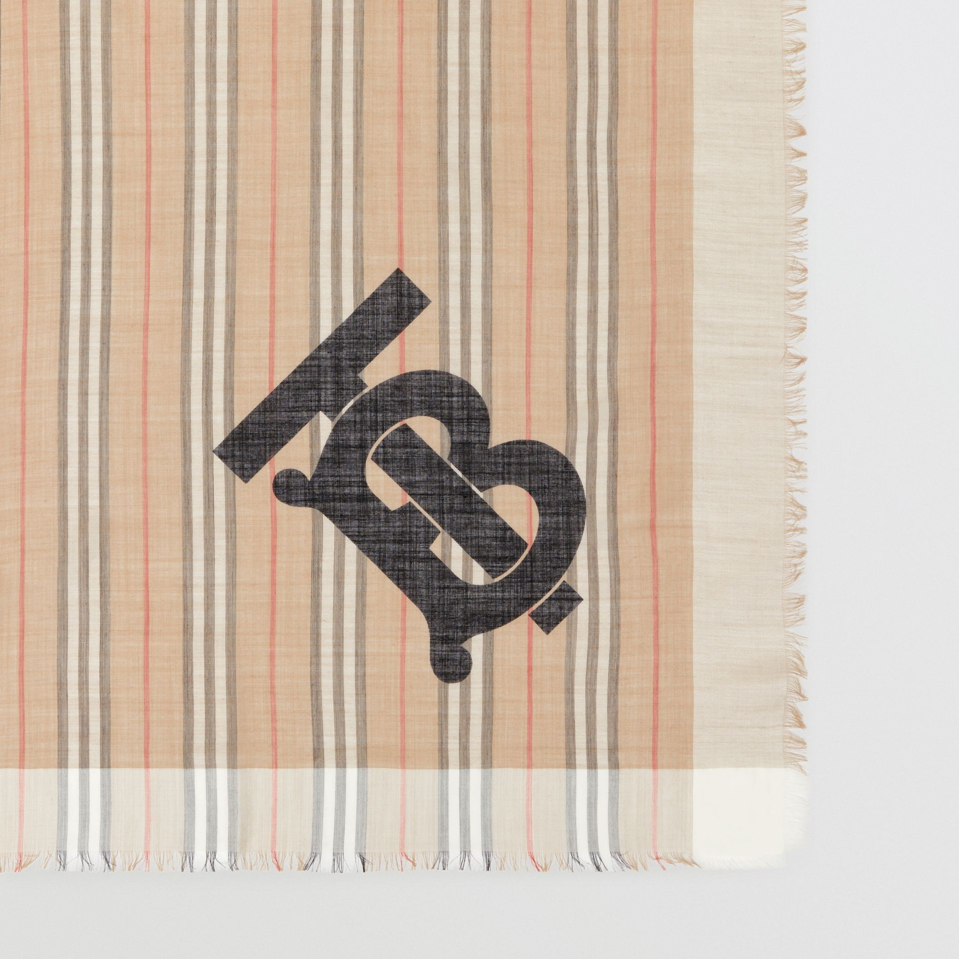 Monogram Icon Stripe Wool Silk Large Square Scarf in Archive Beige | Burberry Australia - gallery image 1