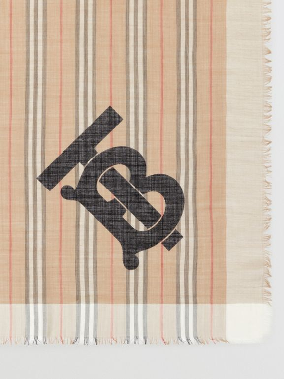 Monogram Icon Stripe Wool Silk Large Square Scarf in Archive Beige | Burberry - cell image 1