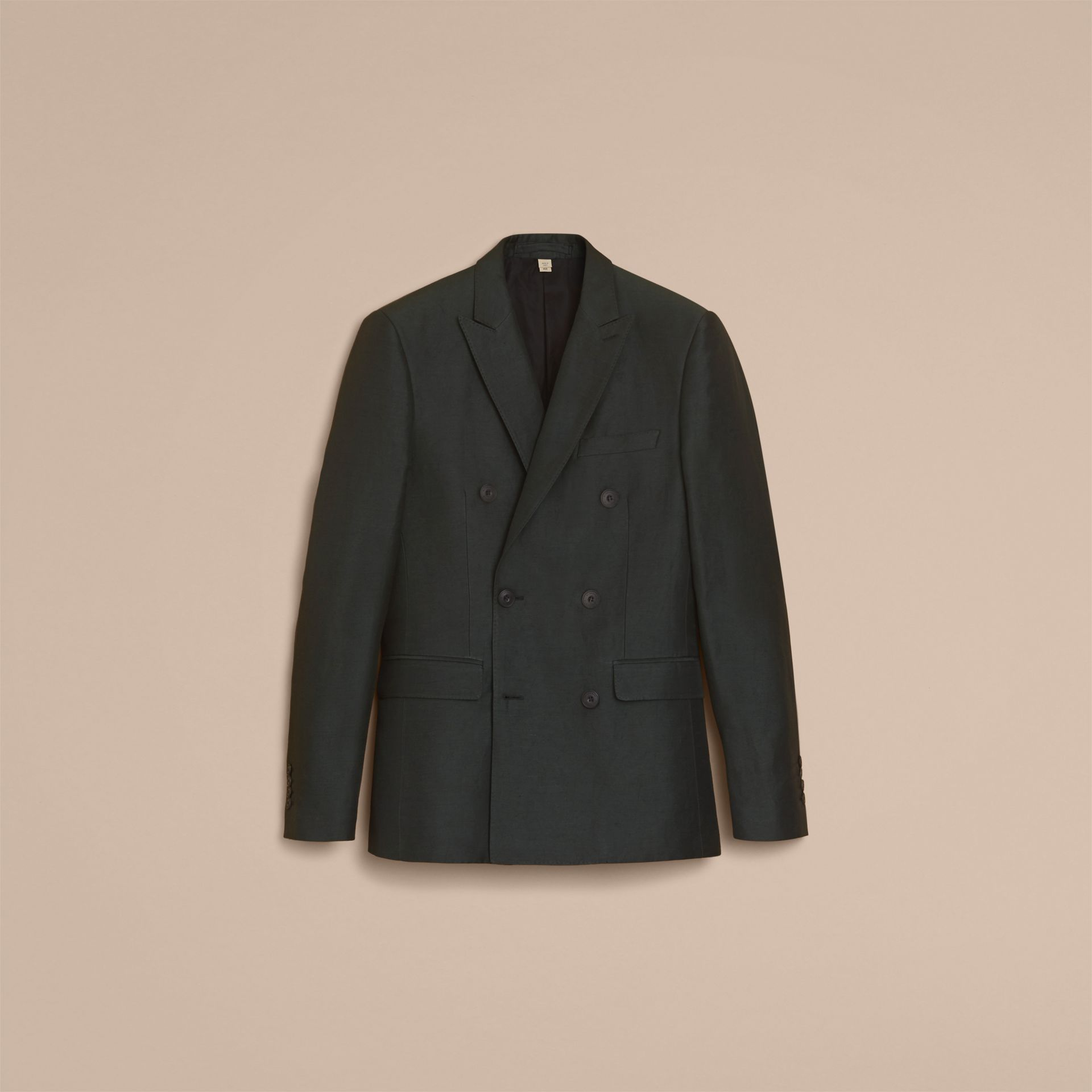 Slim Fit Travel Tailoring Linen Blend Suit in Slate Green - Men | Burberry - gallery image 4