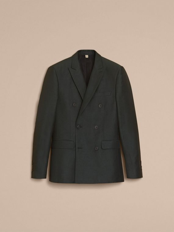 Slim Fit Travel Tailoring Linen Blend Suit in Slate Green - Men | Burberry - cell image 3