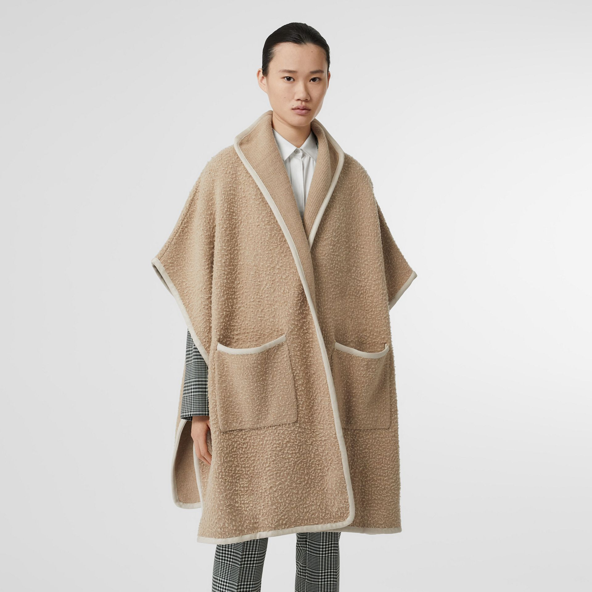 Wool Fleece Cape in Sand - Women | Burberry - gallery image 3