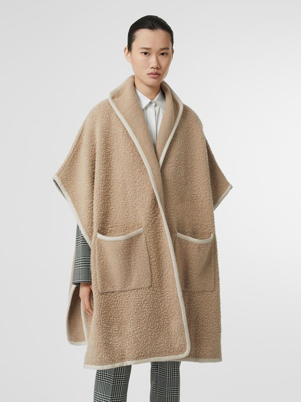 Wool Fleece Cape in Sand - Women | Burberry United Kingdom - cell image 3