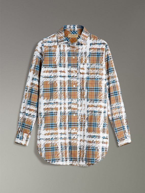 Scribble Check Cotton Stepped-hem Shirt in Bright Mineral Blue - Women | Burberry - cell image 3