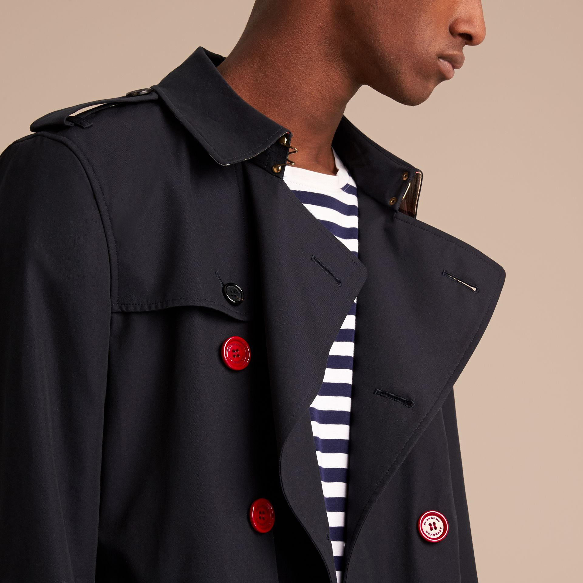 Extra-long Resin Button Cotton Gabardine Trench Coat in Navy - Men | Burberry - gallery image 5