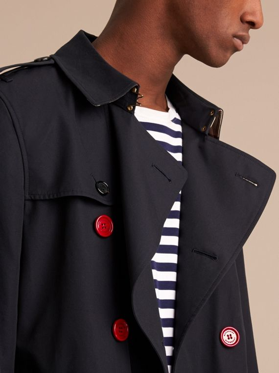 Extra-long Resin Button Cotton Gabardine Trench Coat in Navy - Men | Burberry