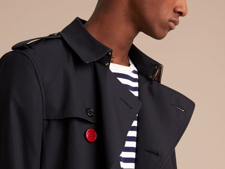 Extra-long Resin Button Cotton Gabardine Trench Coat in Navy - Men | Burberry - cell image 4