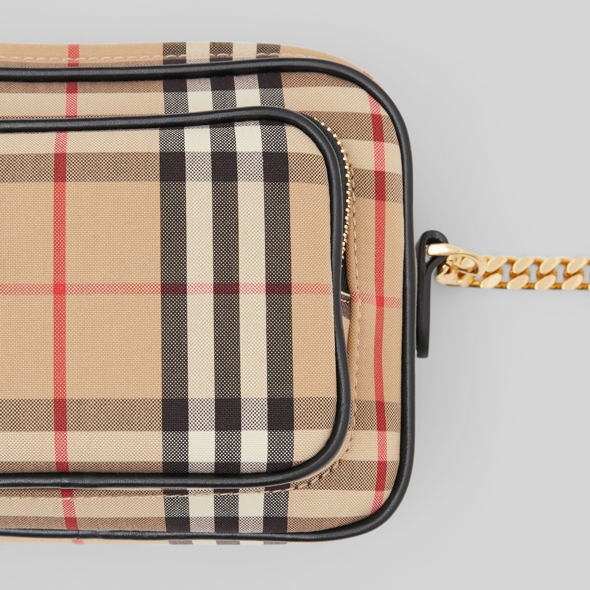 Vintage Check and Leather Camera Bag in Archive Beige | Burberry United States - gallery image 1