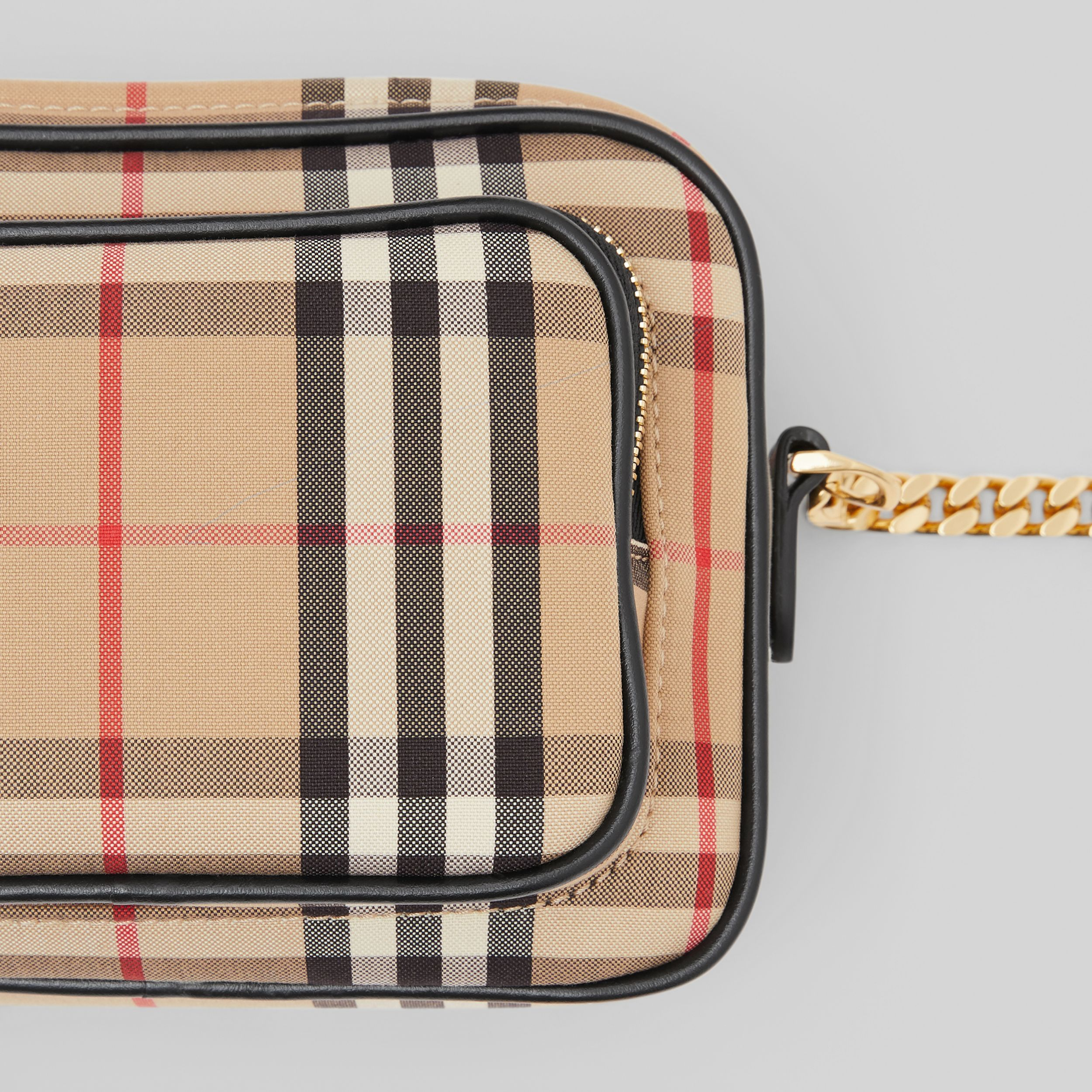 Vintage Check and Leather Camera Bag in Archive Beige | Burberry - 2