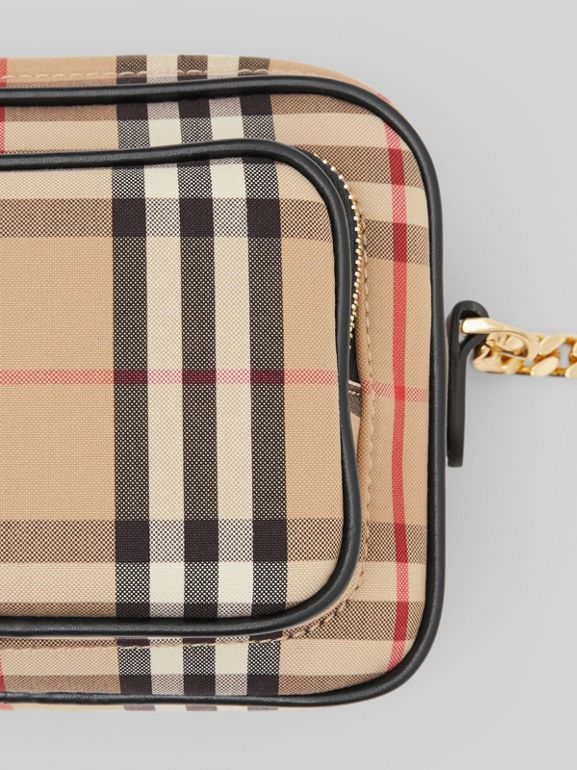 Vintage Check and Leather Camera Bag in Archive Beige | Burberry United States - cell image 1