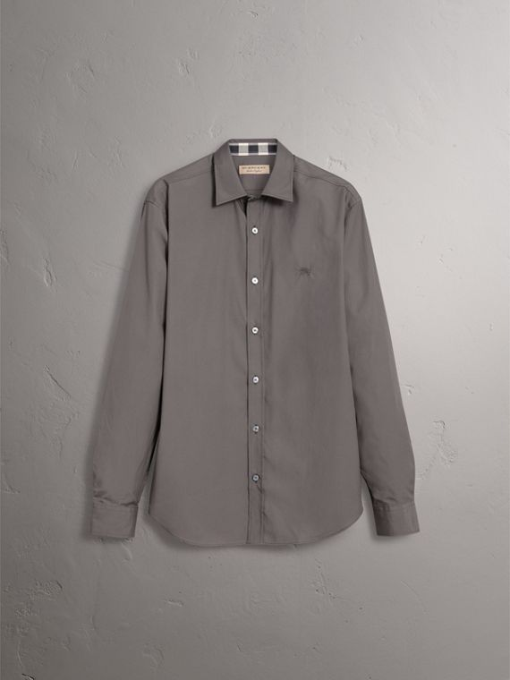 Check Detail Stretch Cotton Poplin Shirt in Stone Grey - Men | Burberry - cell image 3