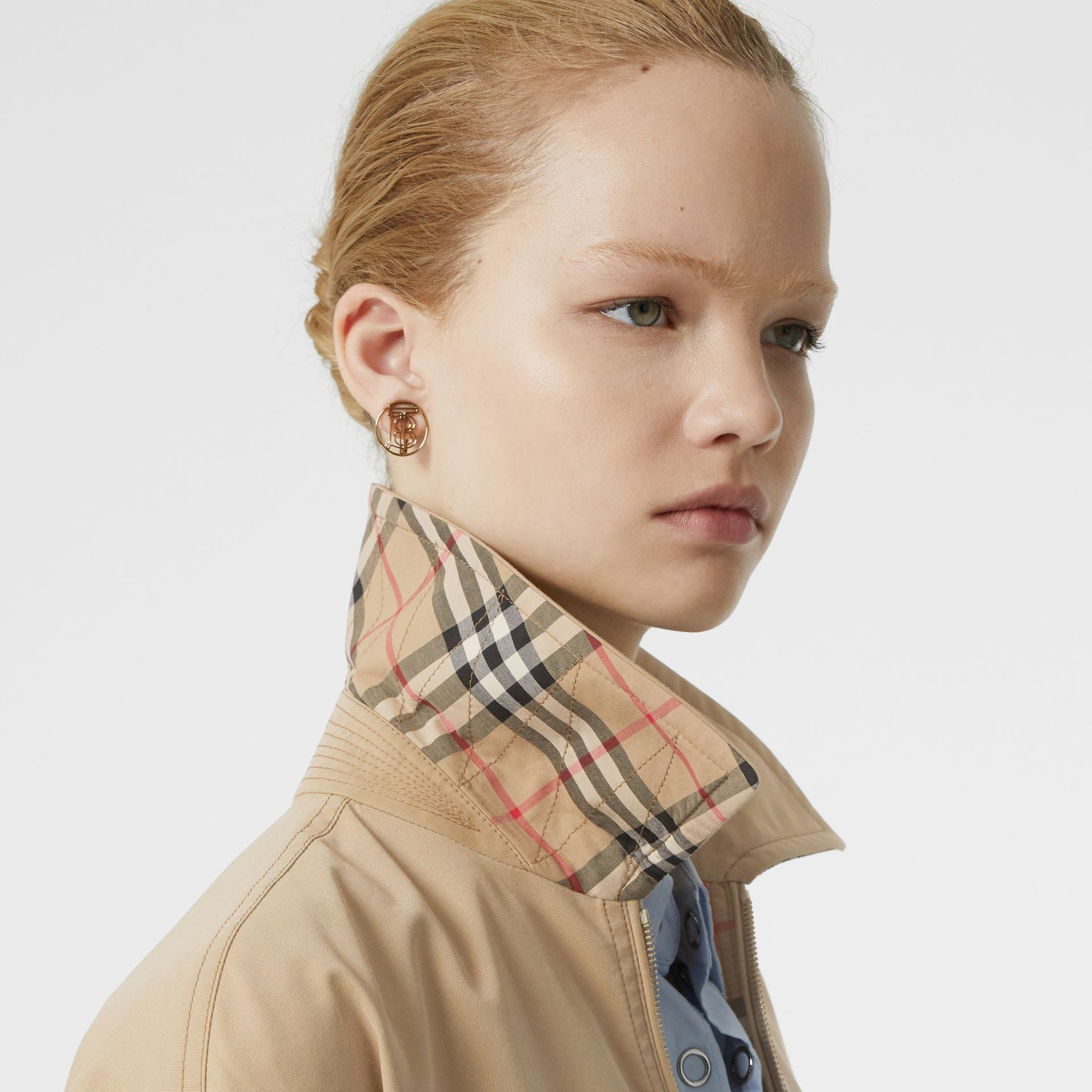 Monogram Print Silk Detail Cotton Gabardine Jacket in Pale Honey - Women | Burberry - gallery image 4