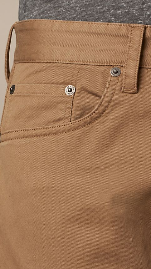 Seed brown Straight Fit Stretch-Cotton Trousers - Image 3