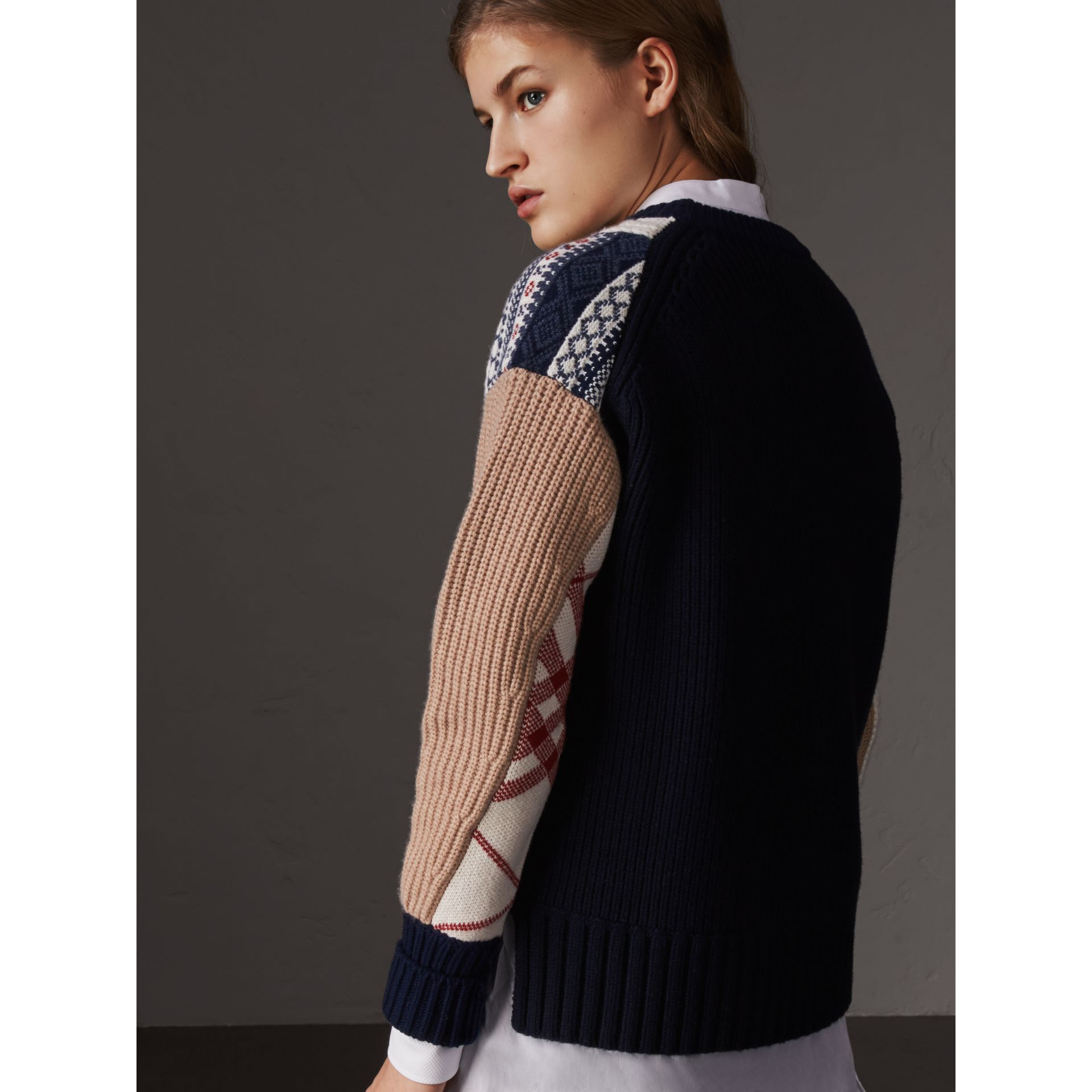 Wool Cashmere Patchwork Sweater in Camel - Women | Burberry Hong Kong - gallery image 2