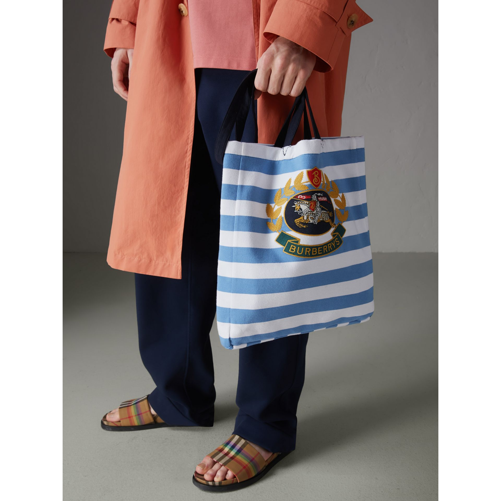 Archive Logo Striped Jersey Tote in Sky Blue/white | Burberry Canada - gallery image 5
