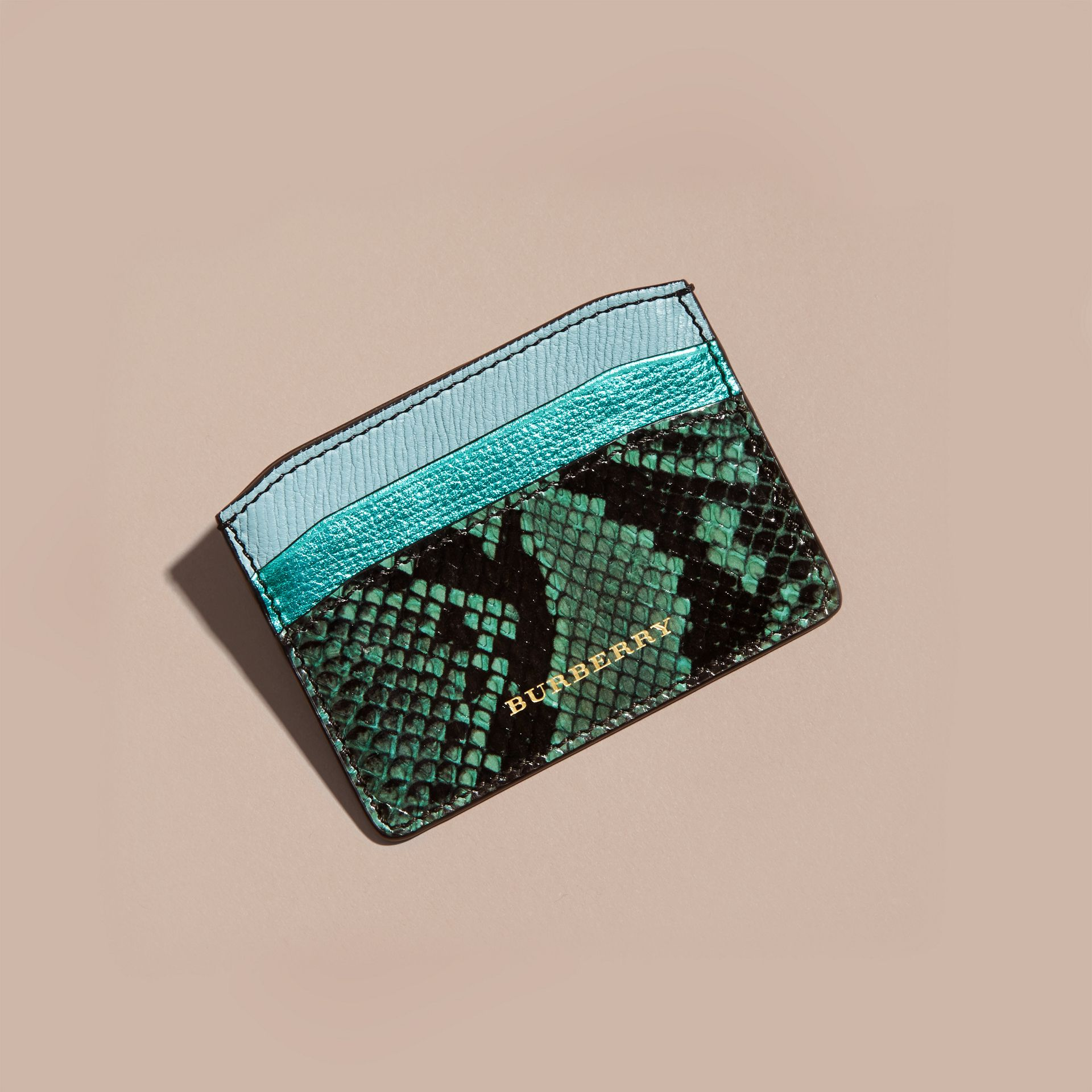 Light mint Colour Block Leather and Snakeskin Card Case Light Mint - gallery image 3