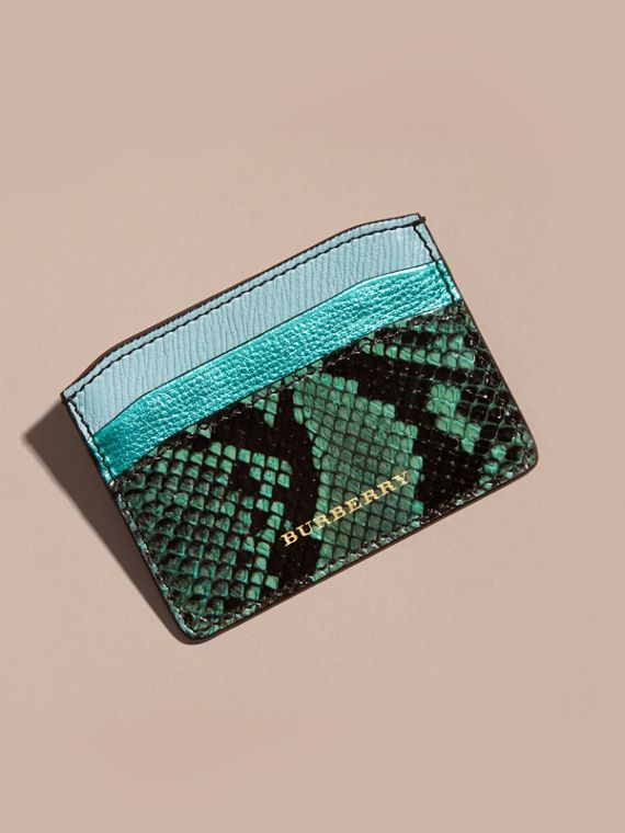 Light mint Colour Block Leather and Snakeskin Card Case Light Mint - cell image 2