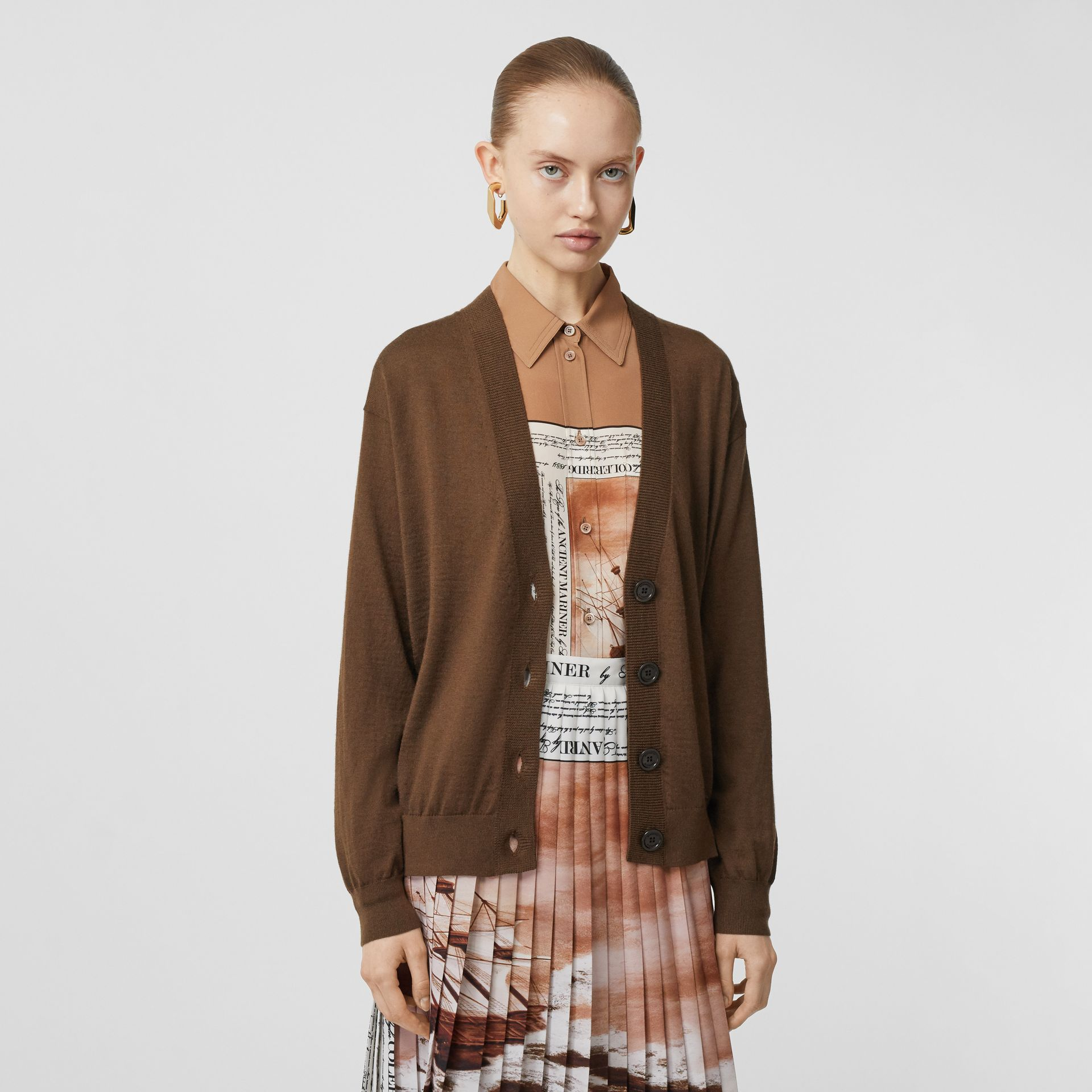 Vintage Check Detail Merino Wool Cardigan in Bridle Brown - Women | Burberry Canada - gallery image 0
