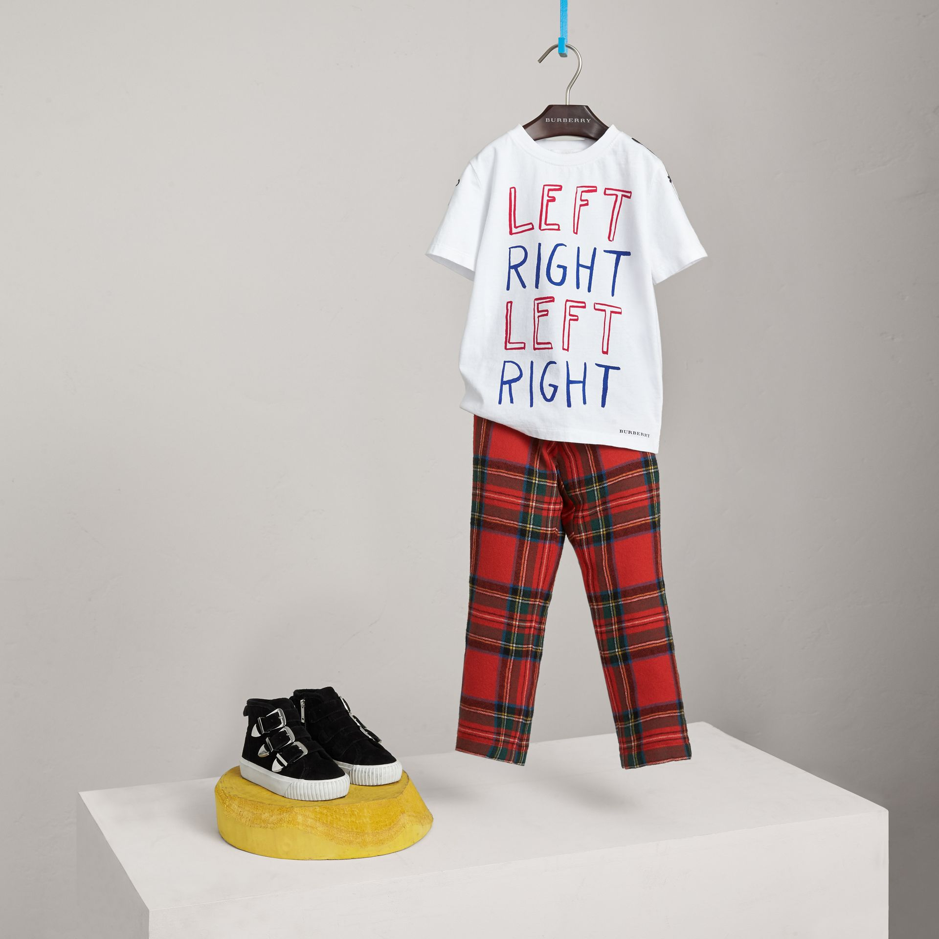 Left Right Print Cotton T-shirt in White - Boy | Burberry United Kingdom - gallery image 0