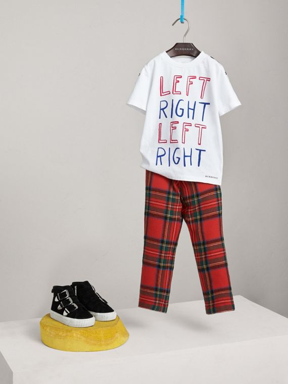 T-shirt en coton à imprimé « Left Right » (Blanc)