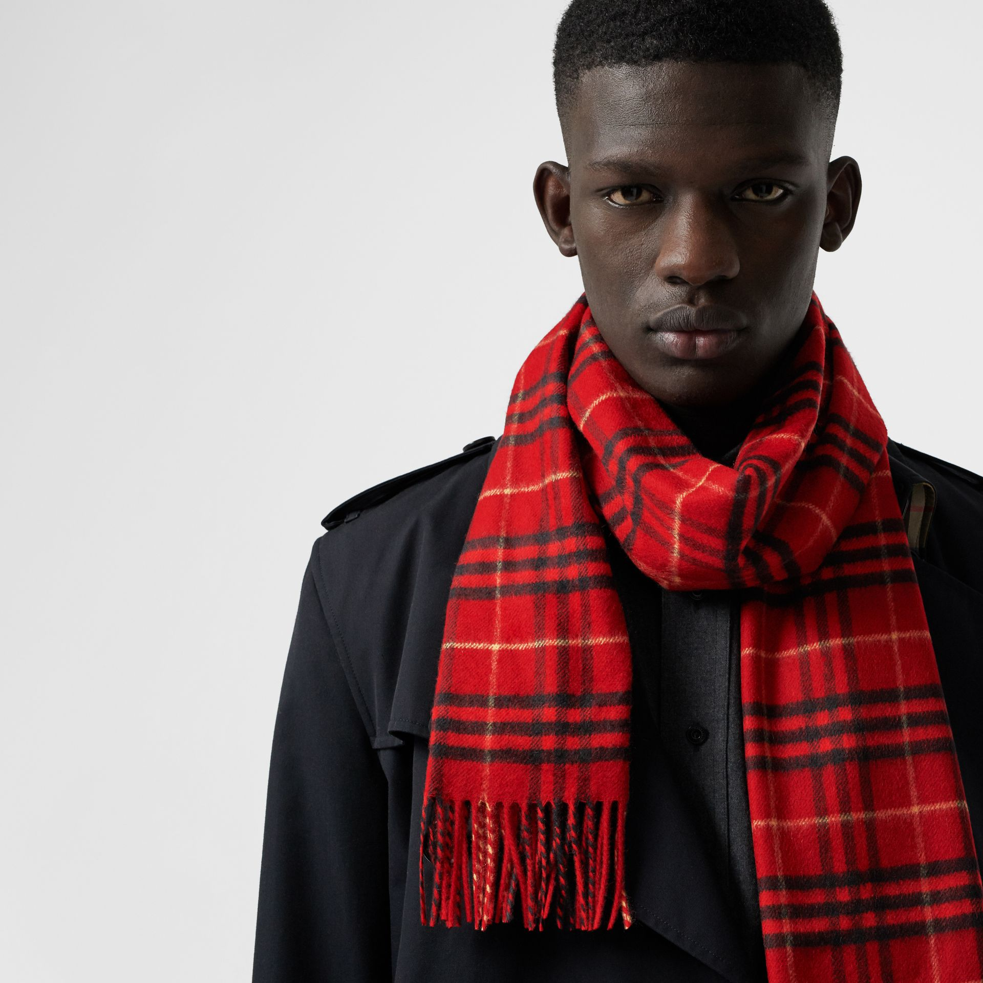 The Classic Vintage Check Cashmere Scarf in Military Red | Burberry - gallery image 6
