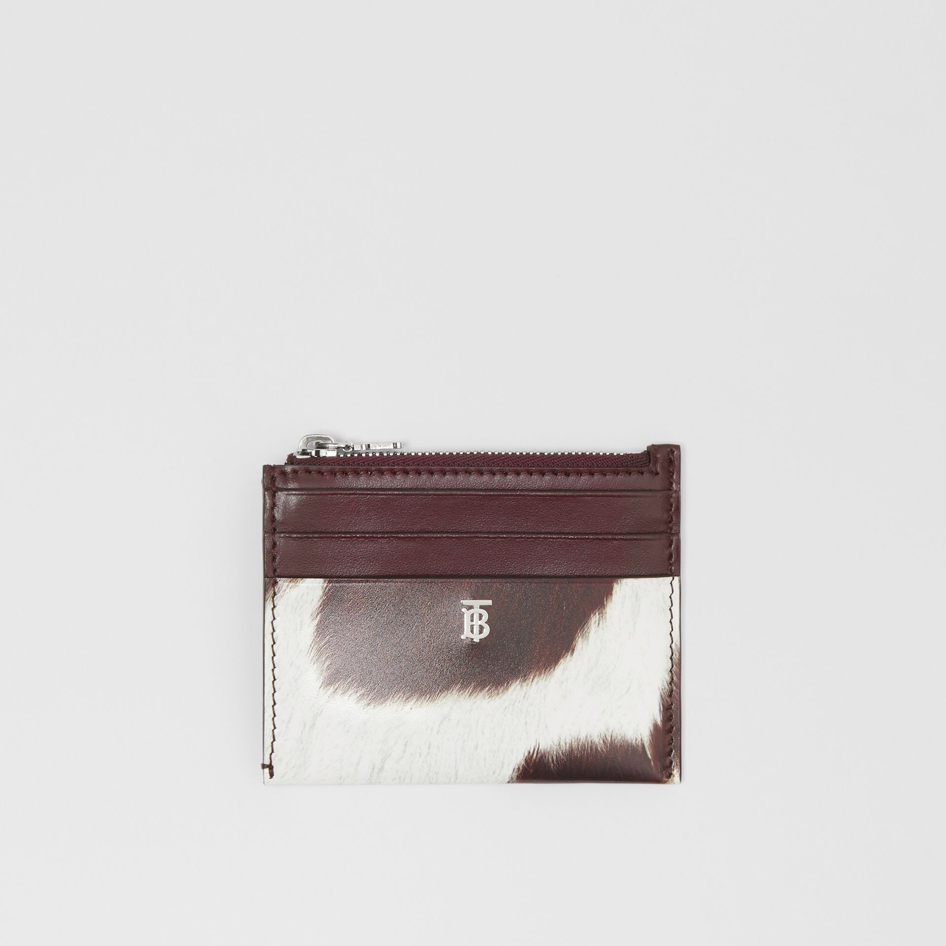 Cow Print Leather Zip Card Case in Mahogany - Women | Burberry - gallery image 0