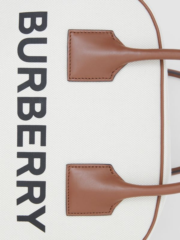 Medium Horseferry Print Canvas Cube Bag in Natural/malt Brown - Women | Burberry - cell image 2