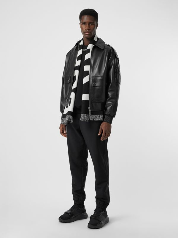 Logo Wool Scarf in Black/white | Burberry Canada - cell image 3