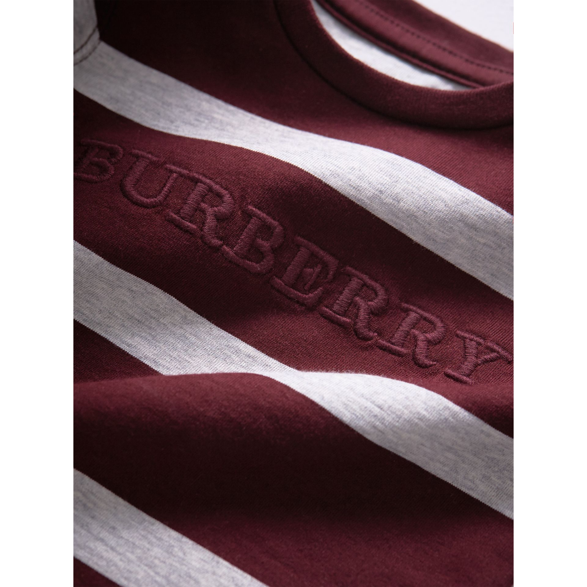 Long-sleeve Striped Cotton Top in Burgundy/grey Melange | Burberry - gallery image 1