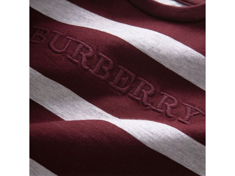 Long-sleeve Striped Cotton Top in Burgundy/grey Melange | Burberry Australia - cell image 1