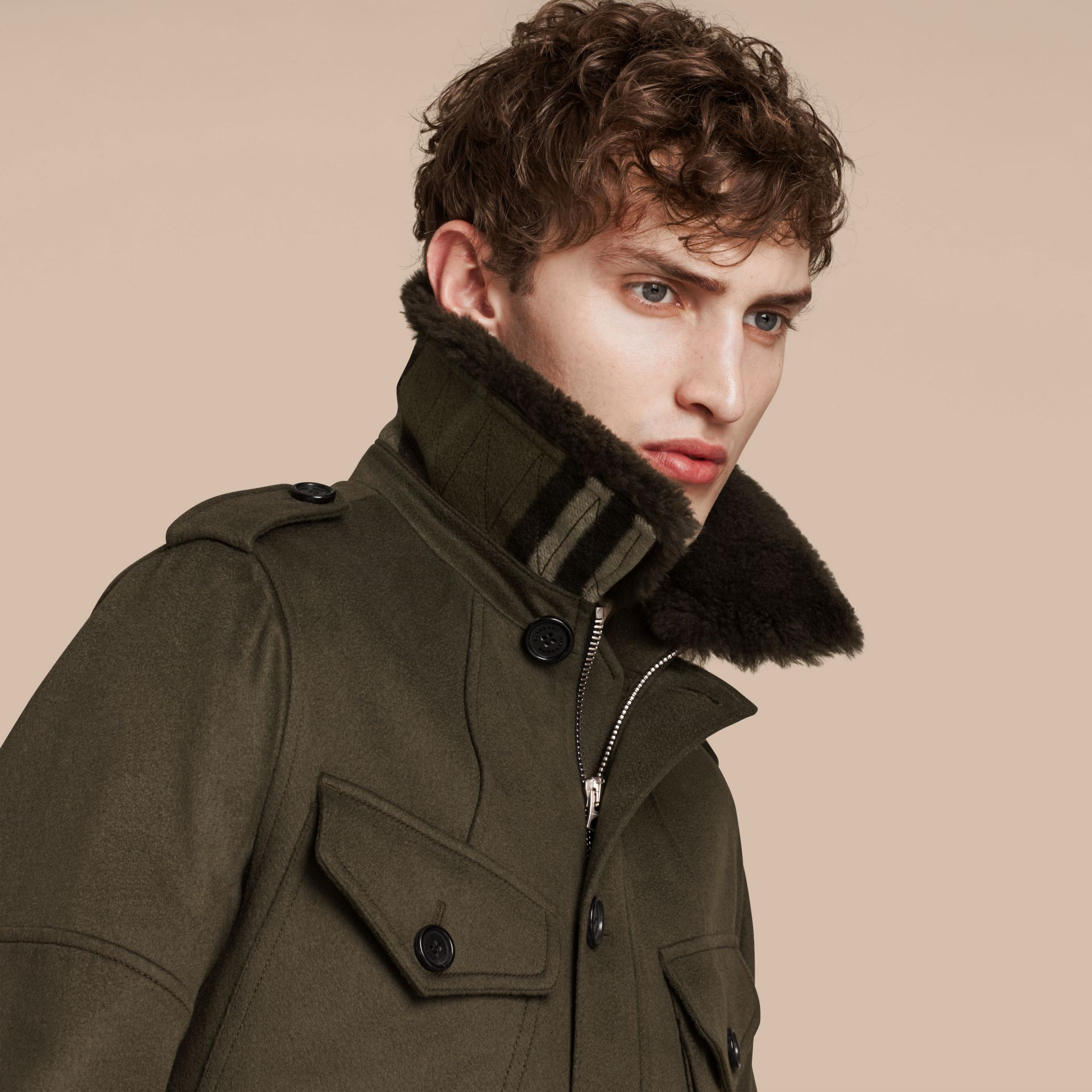 Dark green Shearling Topcollar Cashmere Field Jacket - gallery image 5