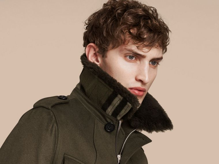 Dark green Shearling Topcollar Cashmere Field Jacket - cell image 4